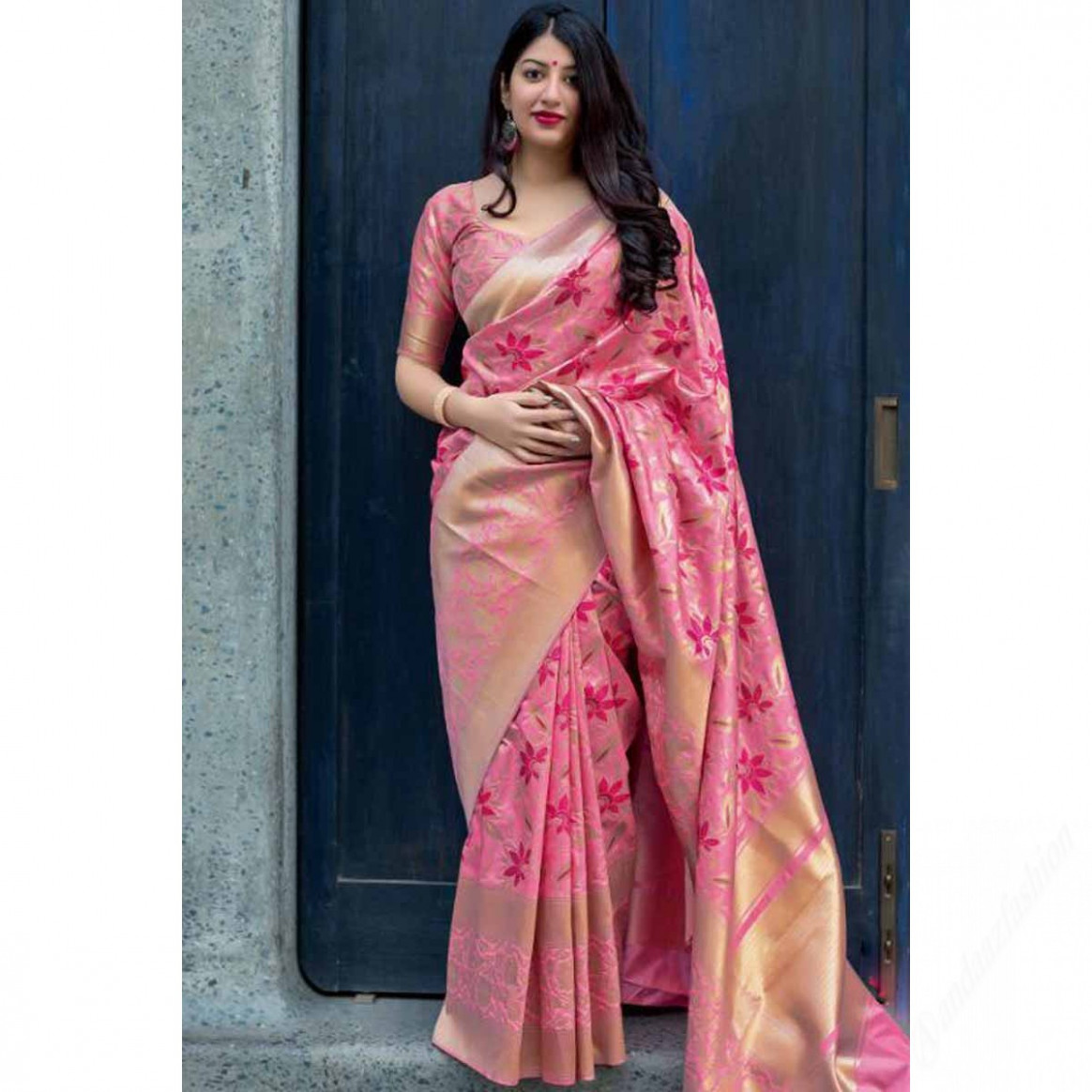 Buy Pink Saree With Silk Blouse - SARV01161  Andaaz Fashion