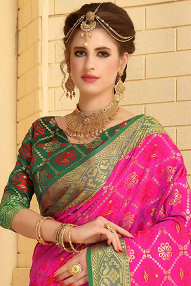 Buy Pink Silk Saree With Green Colour Blouse Online