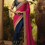 Buy Pink With Blue Art Silk Saree Blouse Online