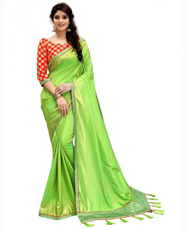 Buy Pleasing Parrot Green Casual Saree [115651] at 35.08 (AUD)
