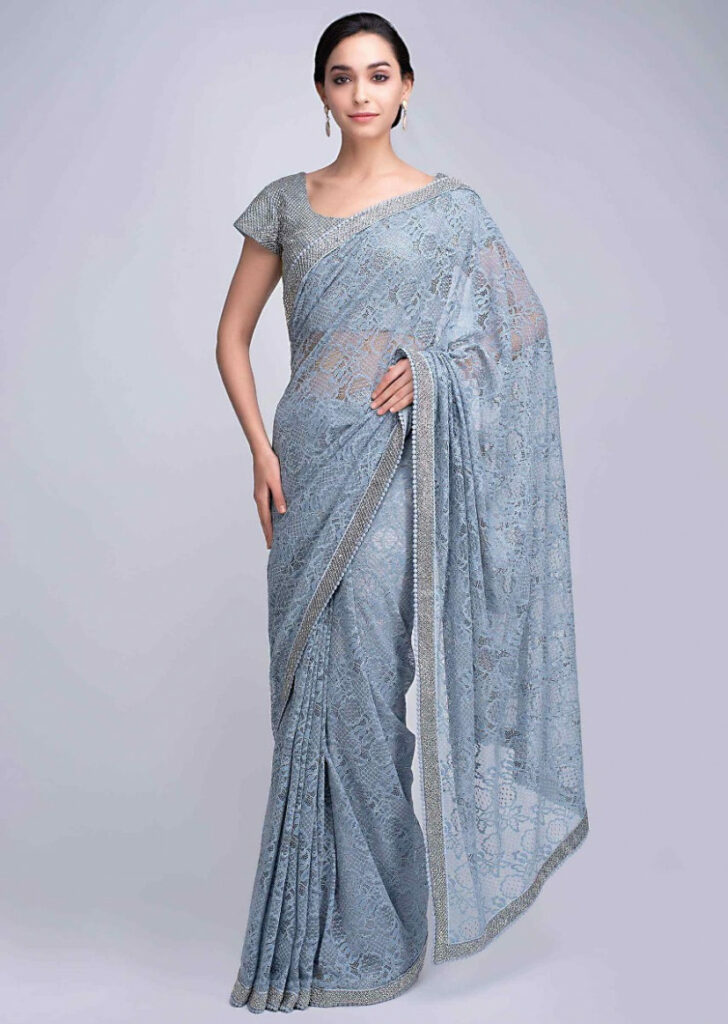 Buy Powder Blue Saree In Chantilly Lace With Heavy Cut