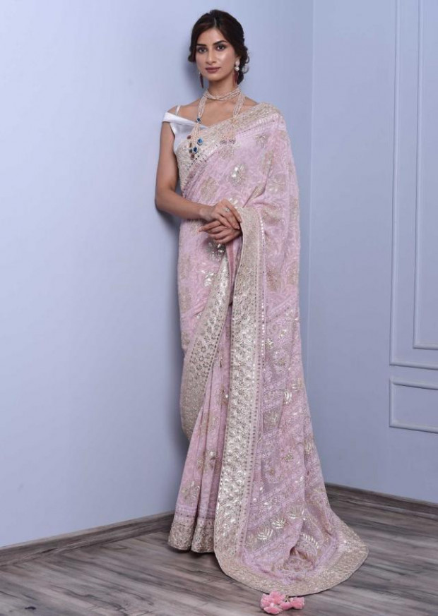 Buy Powder Pink Saree With Lucknowi, Gotta Patch And Badla