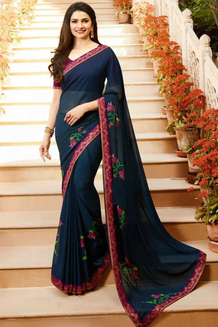 Buy Prachi Desai Casual Style Georgette Navy Blue Saree In