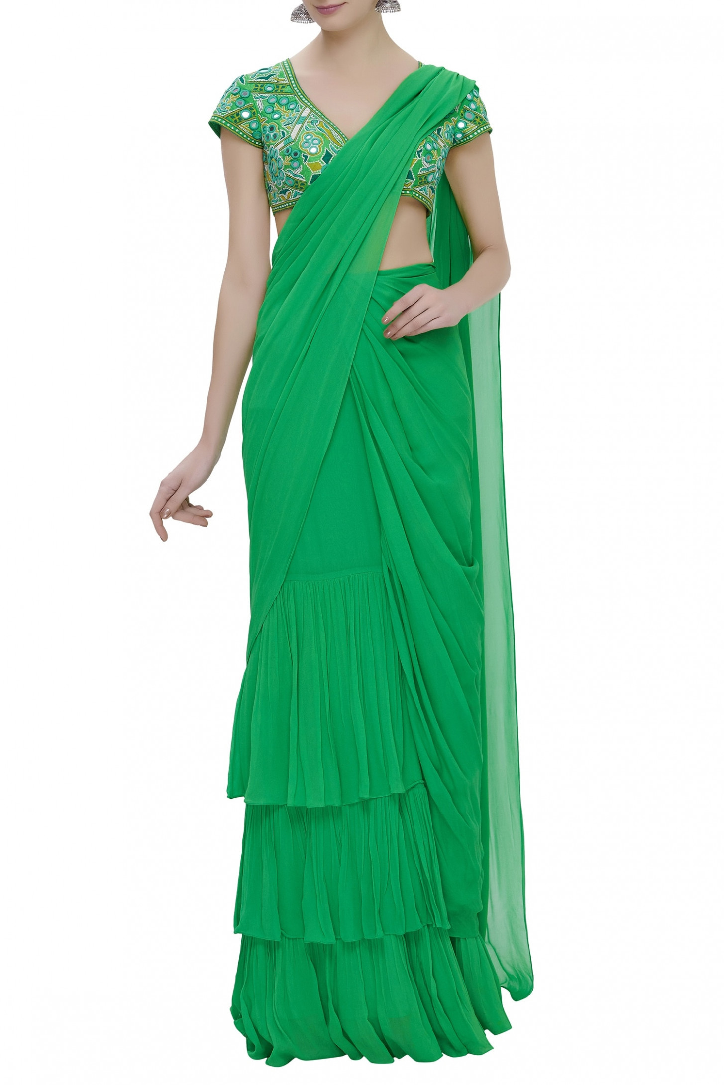 Buy Pre-pleated saree with embroidered blouse by Arpita