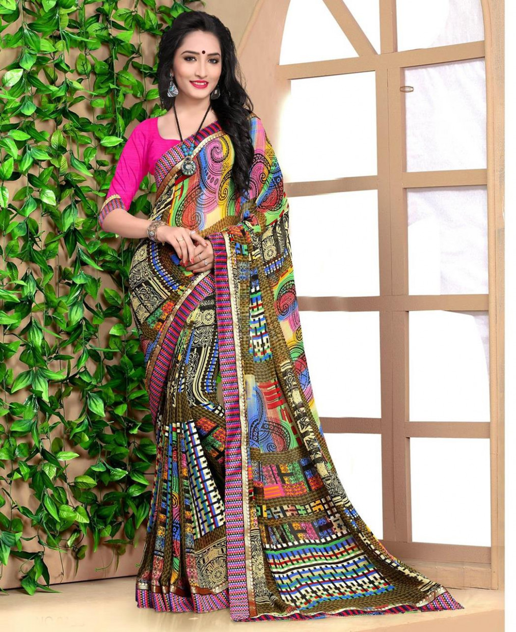 Buy Pretty Multi Casual Saree [106322] at ₹ 1,083.27