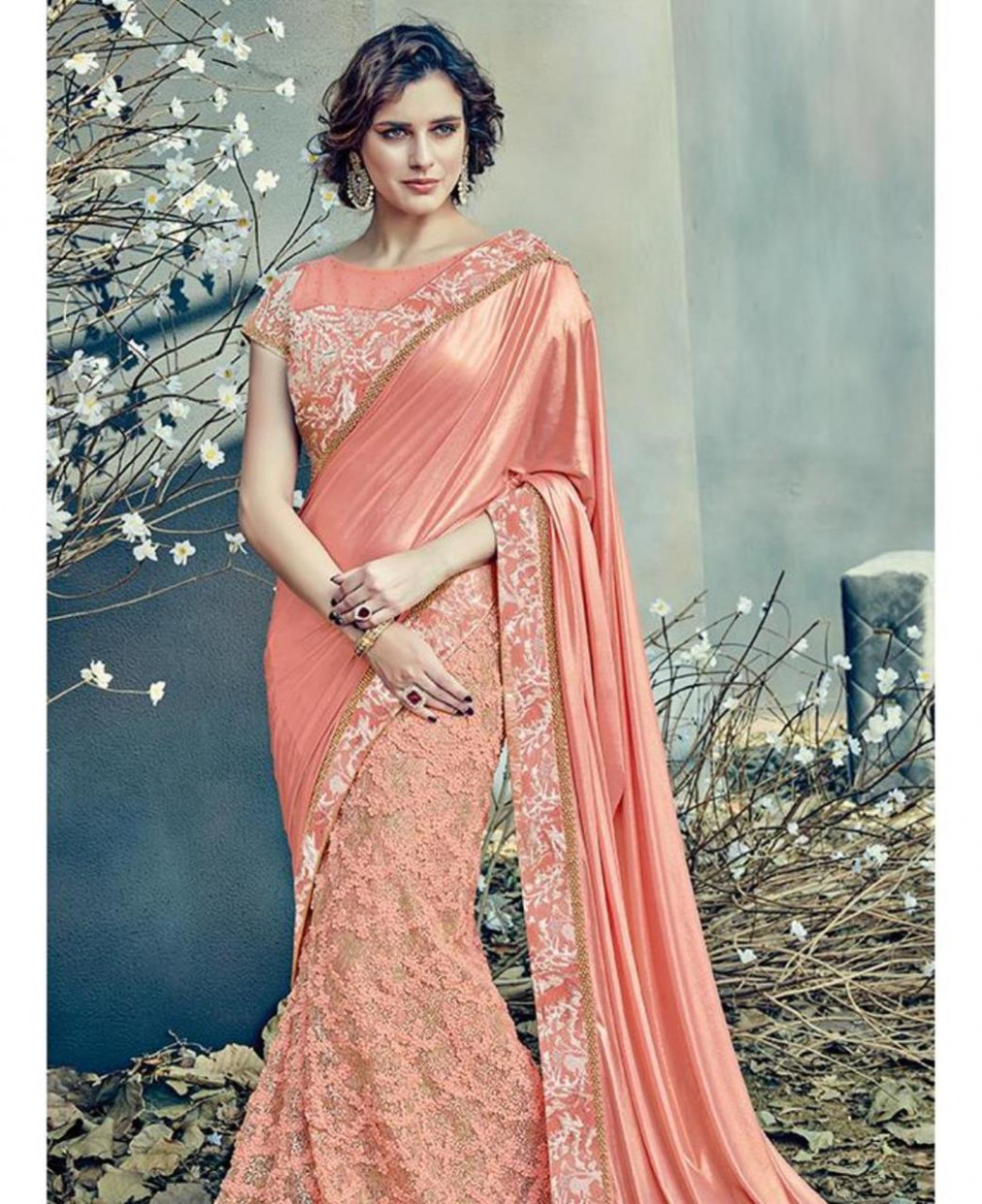 Buy Pretty Peach Net Saree [133725] at 260.90 د.إ.‏