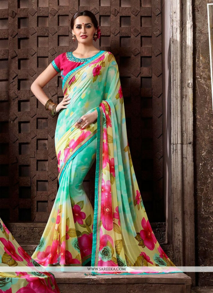 Buy Print Work Multi Colour Georgette Printed Saree Online