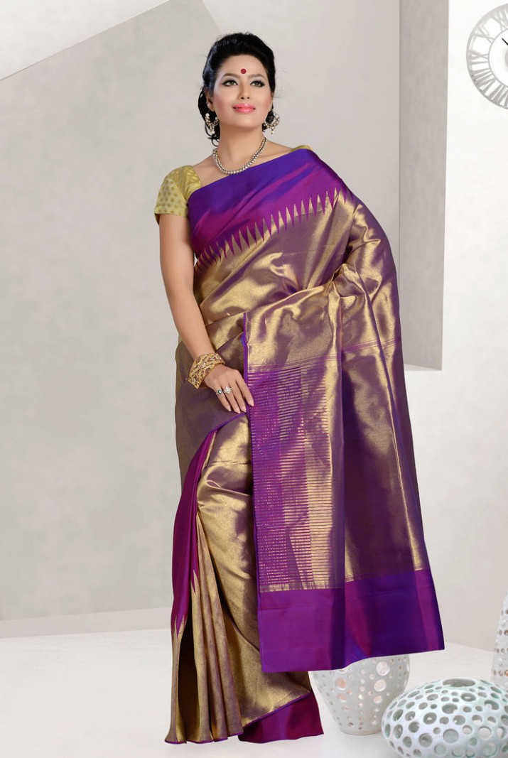 Buy purple embroidered silk saree with blouse Online