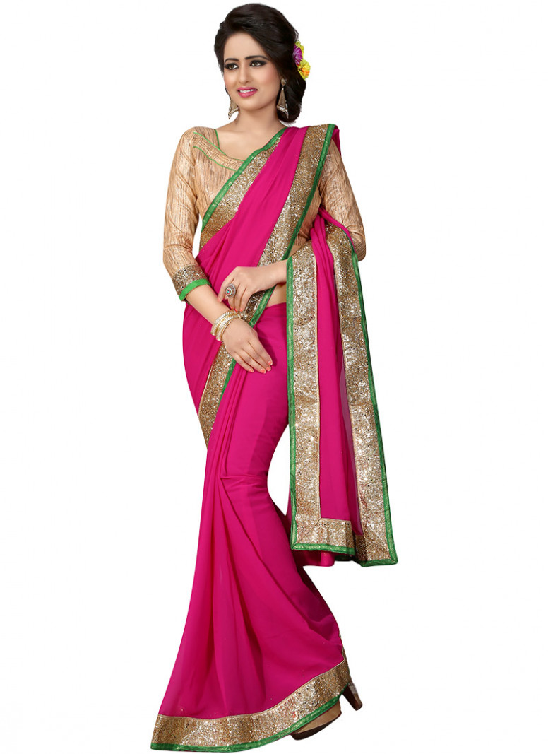 Buy Rani Pink Georgette Border Saree, After Six, sari