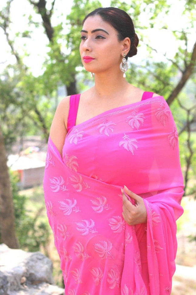 Buy readymade saree blouse online - Falguni Pink saree