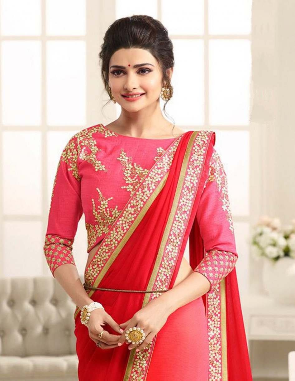 Buy Red&Pink Georgette Embroidered Heavy Party Wear Saree