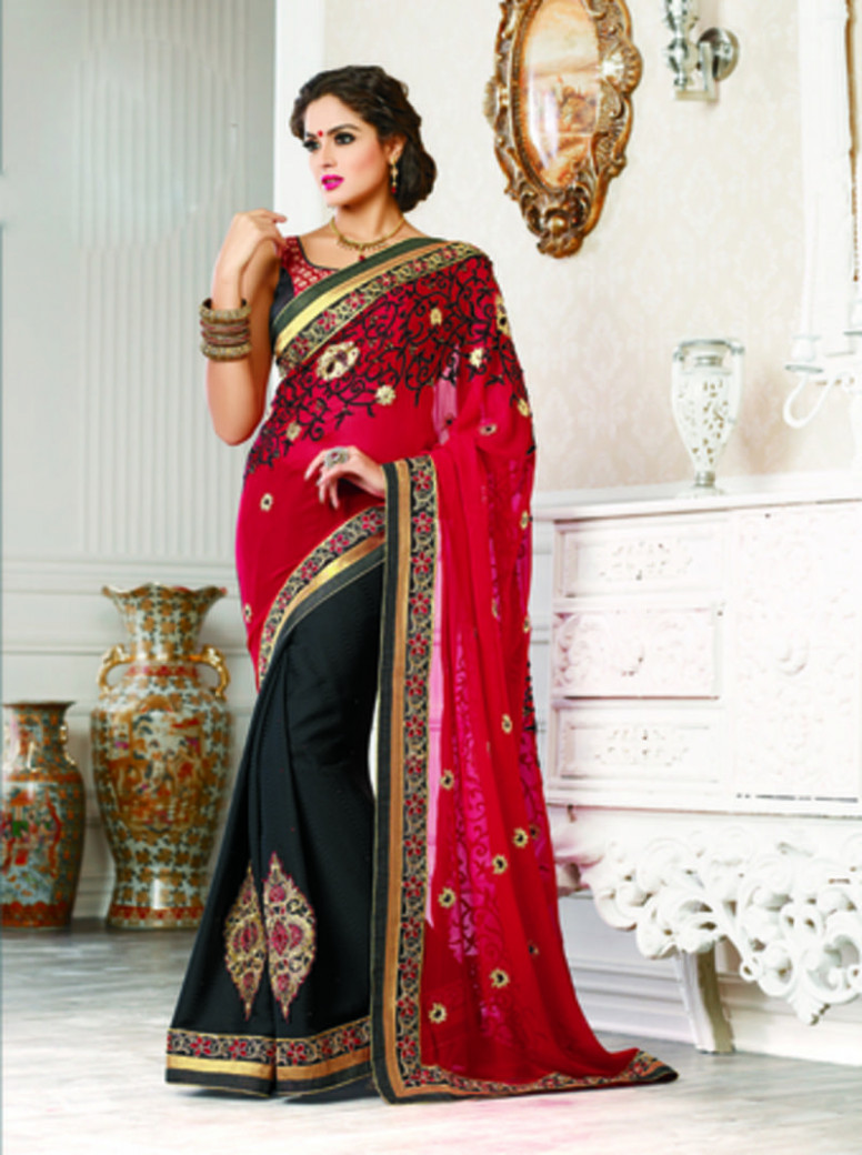 Buy Red and Black embroidered georgette saree with dupatta