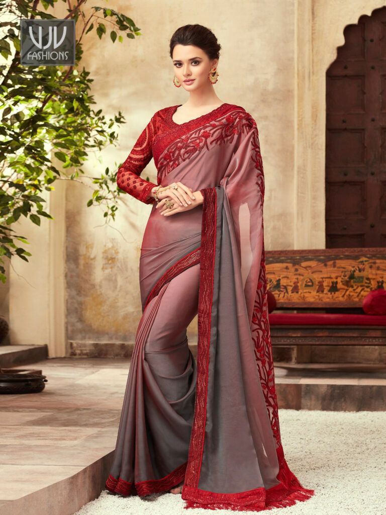 Buy Red And Grey Color Saree, Red Border Saree - VJV