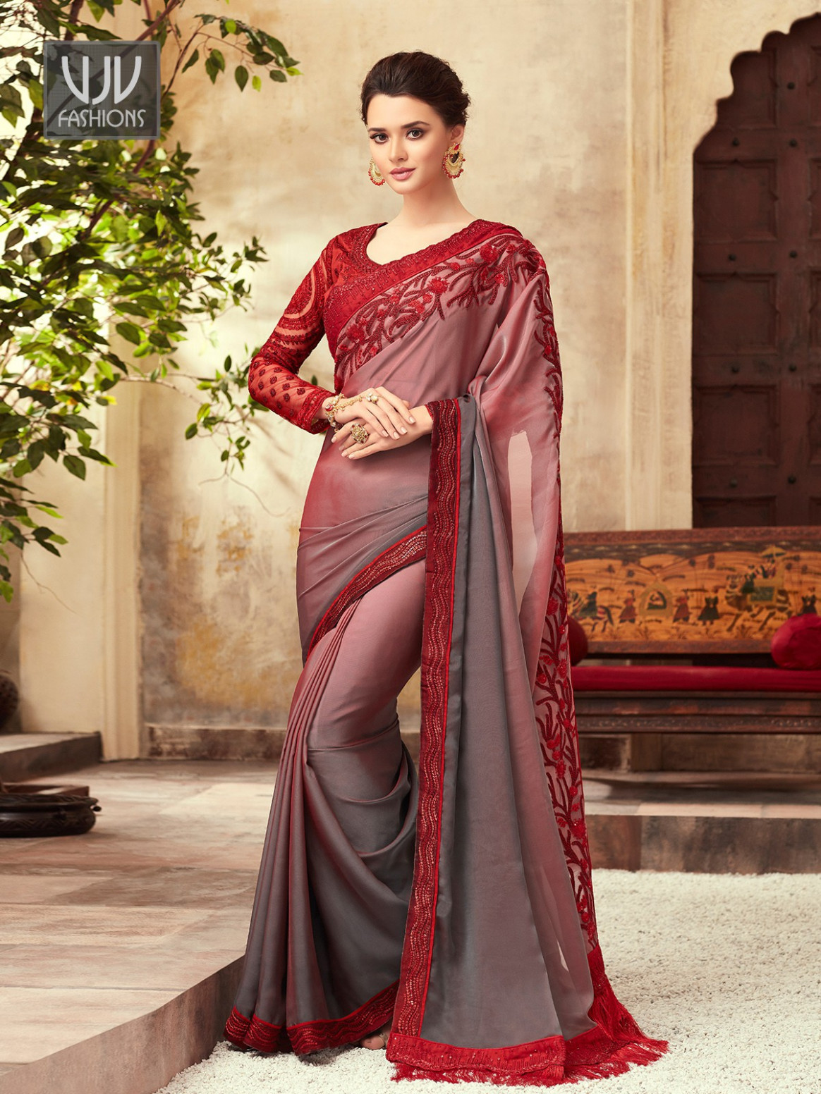 Buy Red And Grey Color Saree, Red Border Saree - VJV - red and black saree