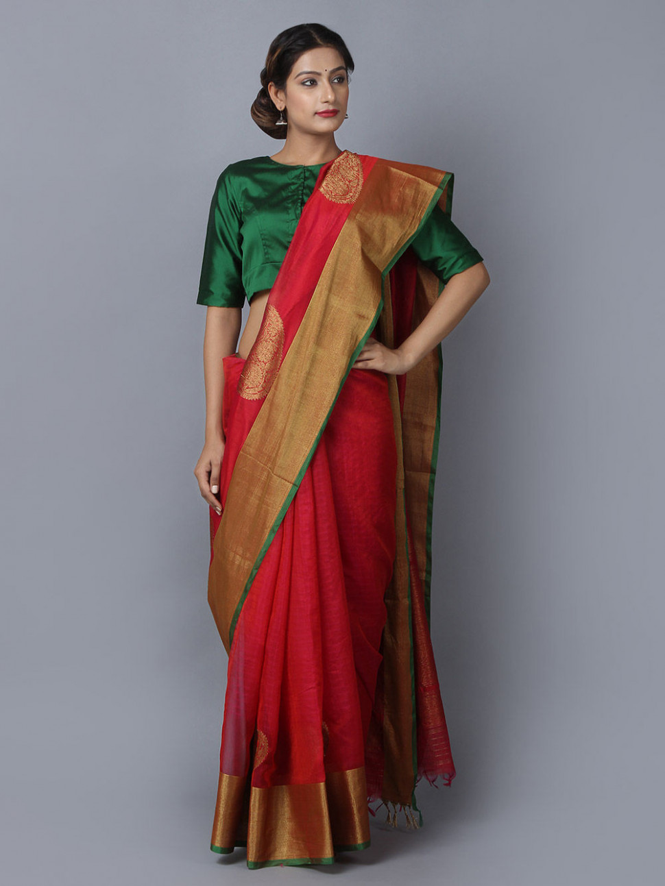 Buy Red Cotton Silk Handwoven Banarasi Saree online at Theloom