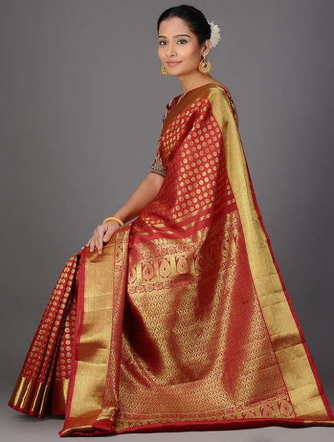 Buy Red Kanjivaram Brocade Silk Saree Online at Jaypore.com