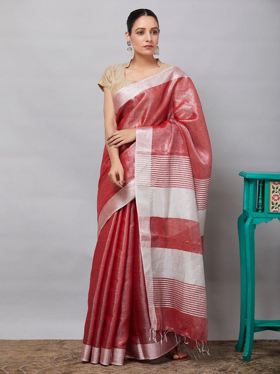 Buy Red Linen Tissue Saree online at Theloom