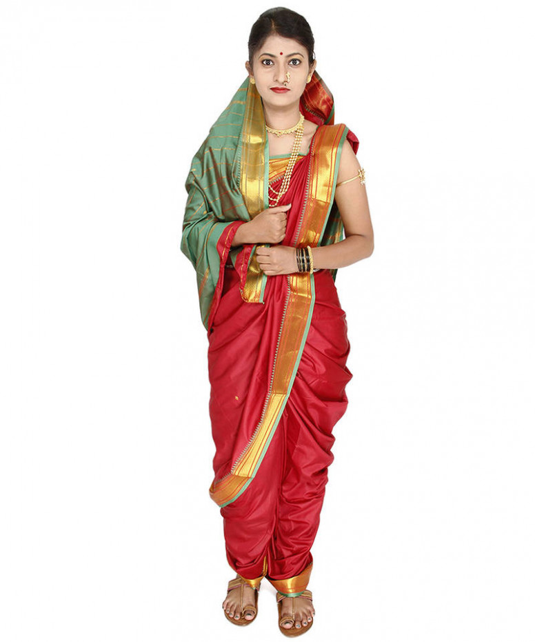 Buy Red plain cotton silk nauvari saree Online