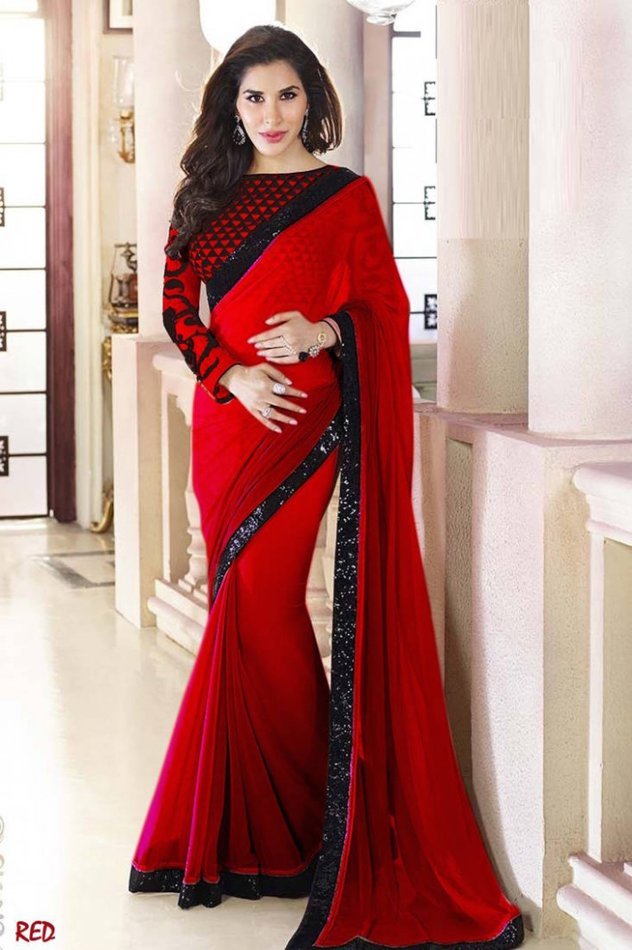 Buy Red Plain Georgette designer saree with blouse Online