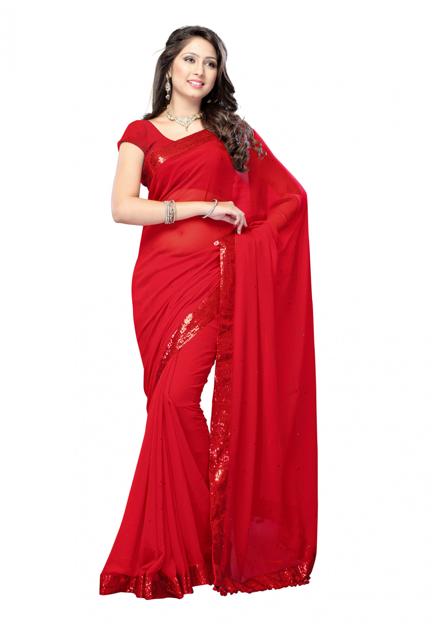 Buy Red plain georgette saree with blouse Online