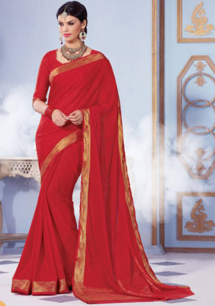 Buy Red Plain Silk saree with blouse Online