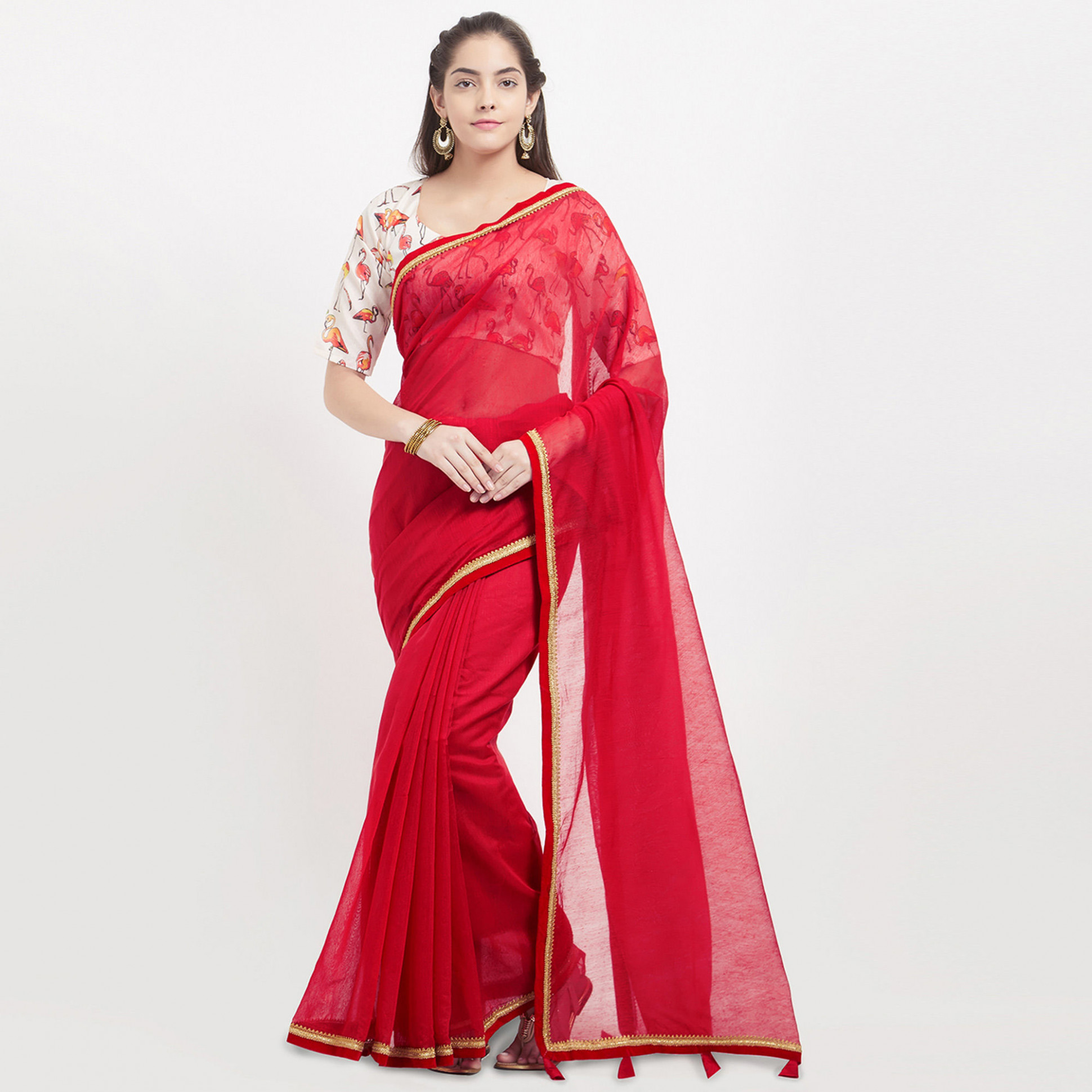 Buy Red Saree with Digital Printed Blouse online India