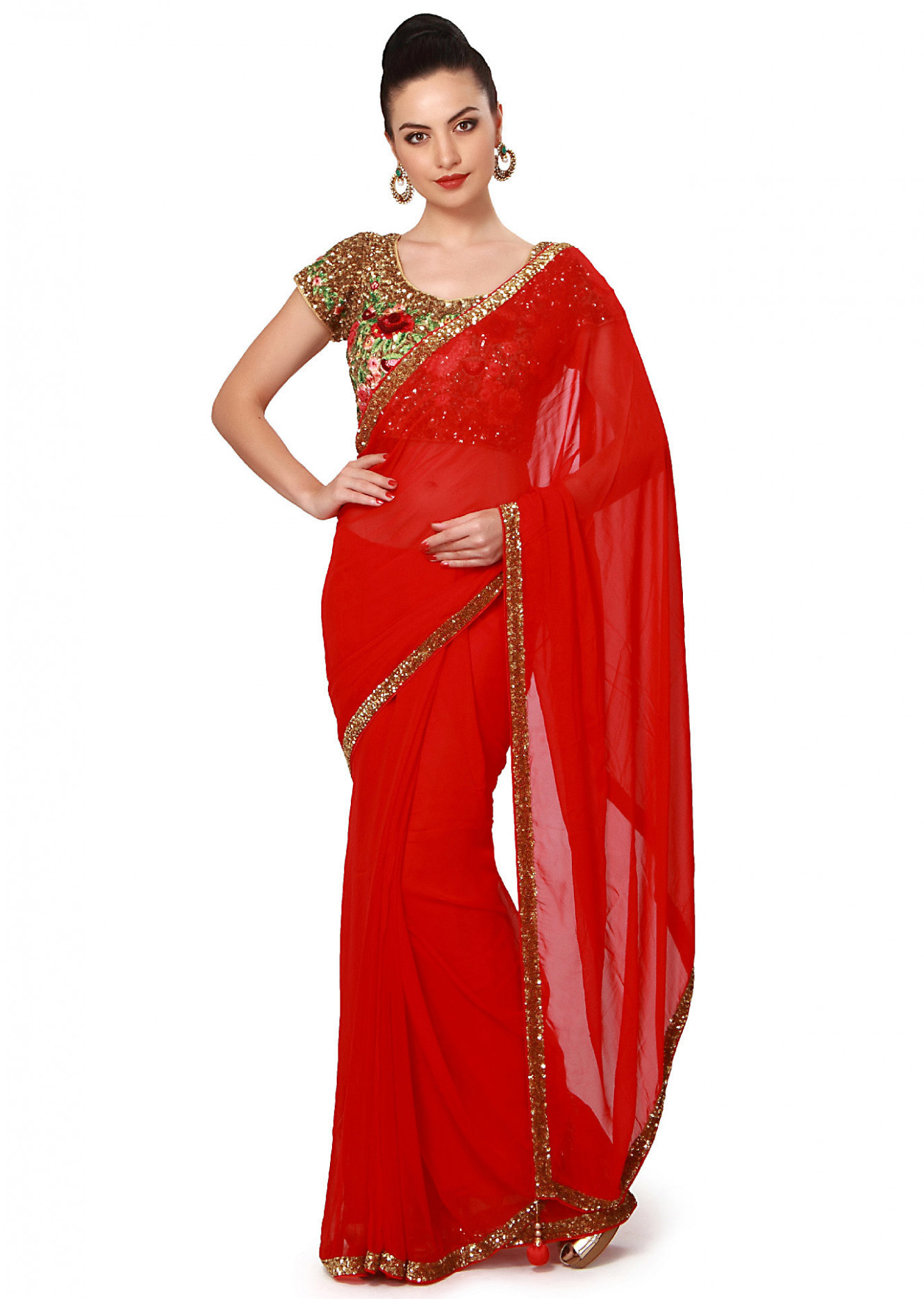 Buy Red Saree With Sequins Border Online - Kalki Fashion