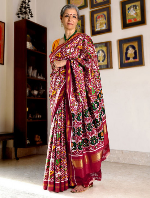 Buy Red-White Double Ikat Patan Patola Silk Saree with