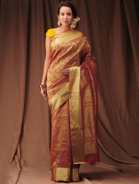 Buy Red Zari Kanjivaram Silk Saree Online at Jaypore.com