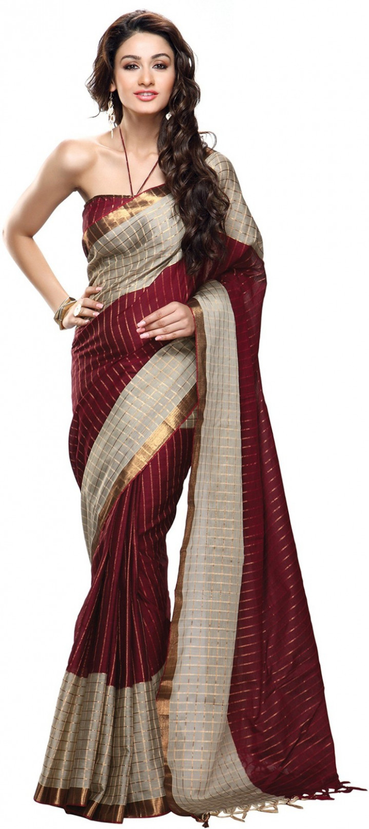 Buy Roop Kashish Striped Fashion Cotton Maroon Sarees