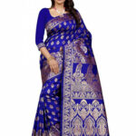 Buy Royal Blue Tussar Silk Saree, Zari , Tussar, sari