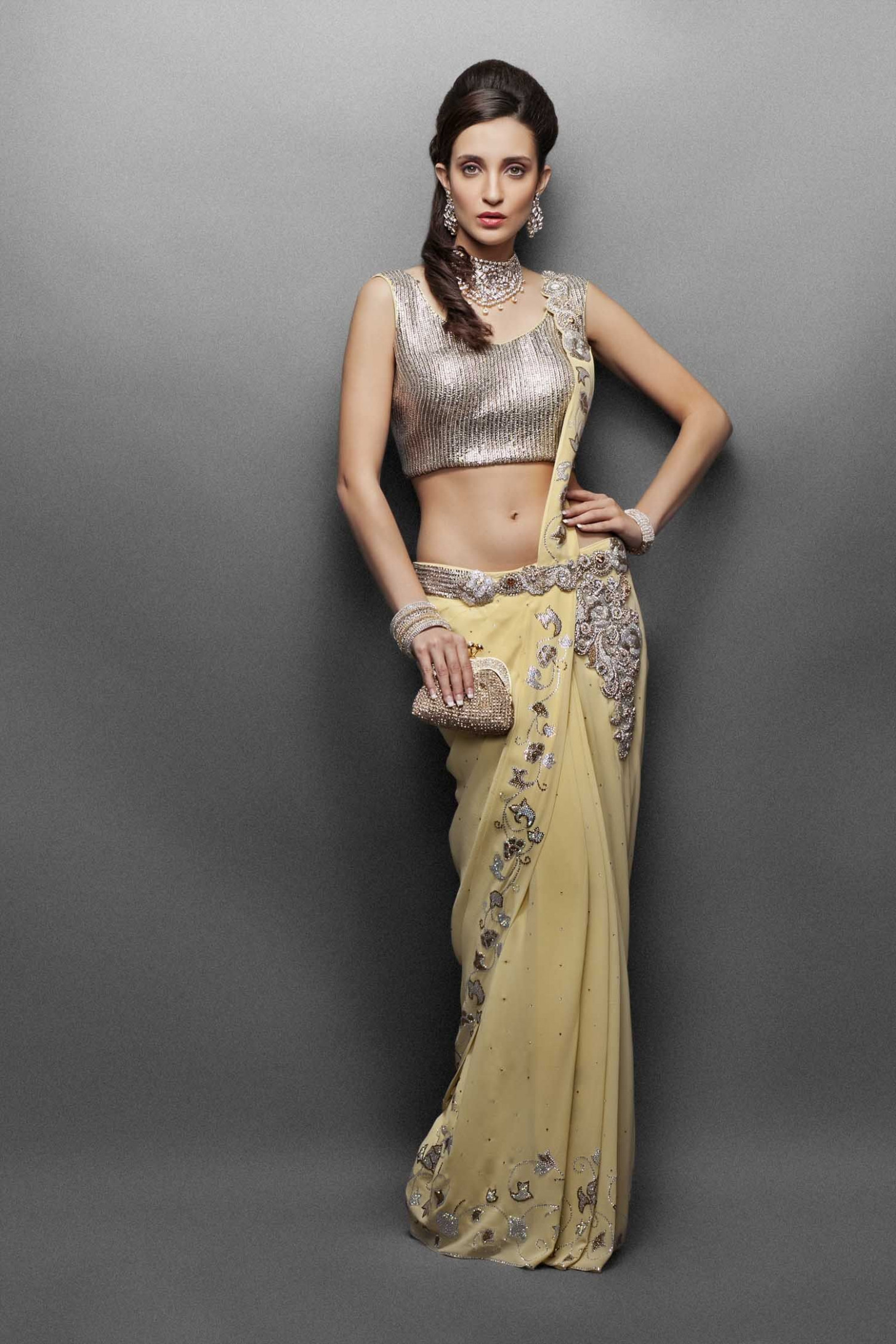 Buy Sarees from India Online- Stitched yellow sari with
