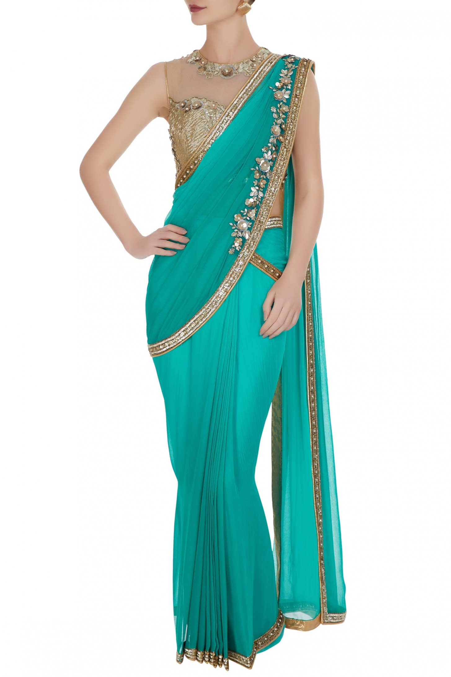 Buy Sequin & pearl pre-draped saree with embroidered