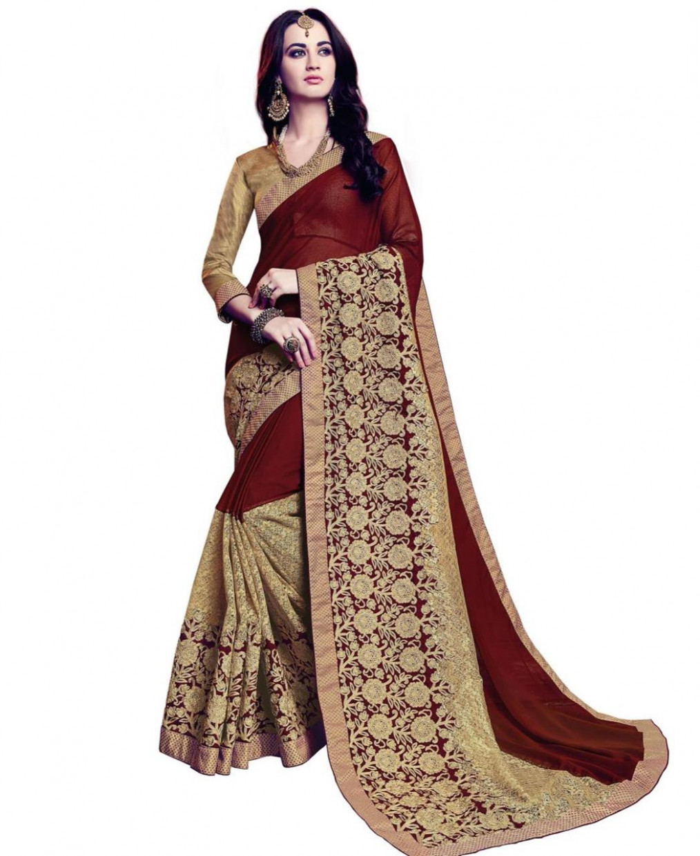 Buy Shapely Maroon & Gold Wedding Saree [117887] at 122.91