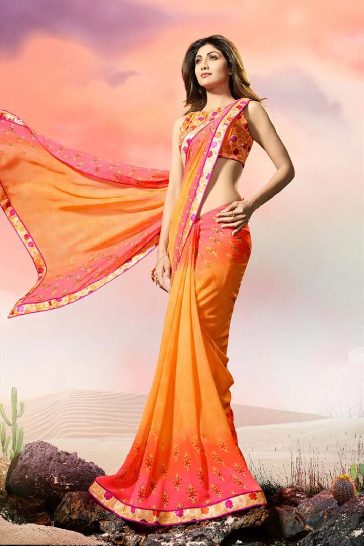 Buy Shilpa Shetty Georgette Orange Glamorous Printed Saree