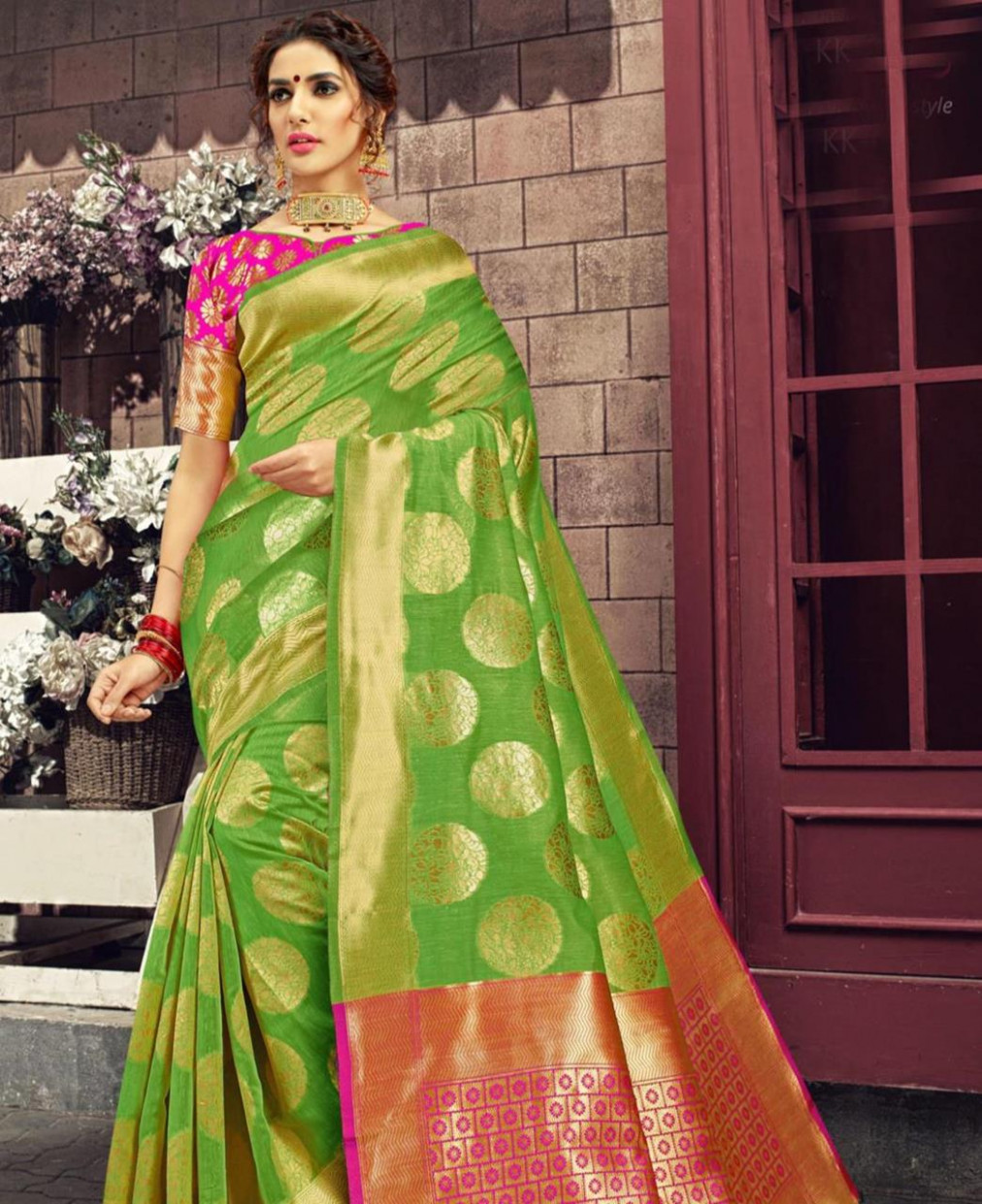 Buy Sightly Lime Green Silk Saree [125732] at 51.74 (AUD)