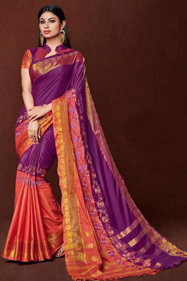 Buy Silk Fabric Gorgeous Purple Color Saree With