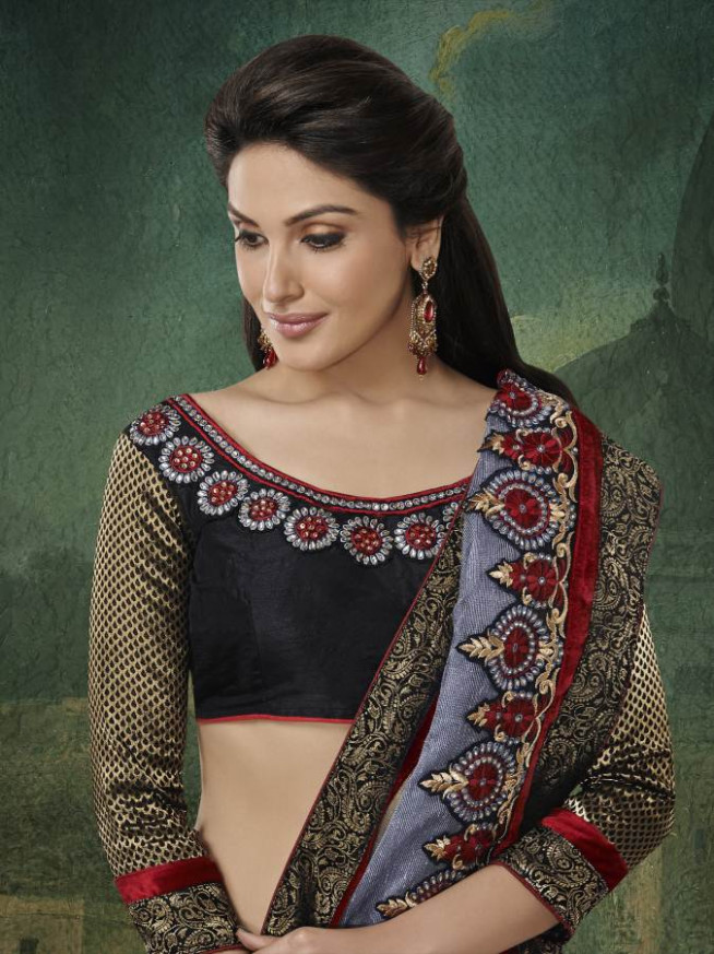 Buy Silver embroidered georgette-saree with blouses saree
