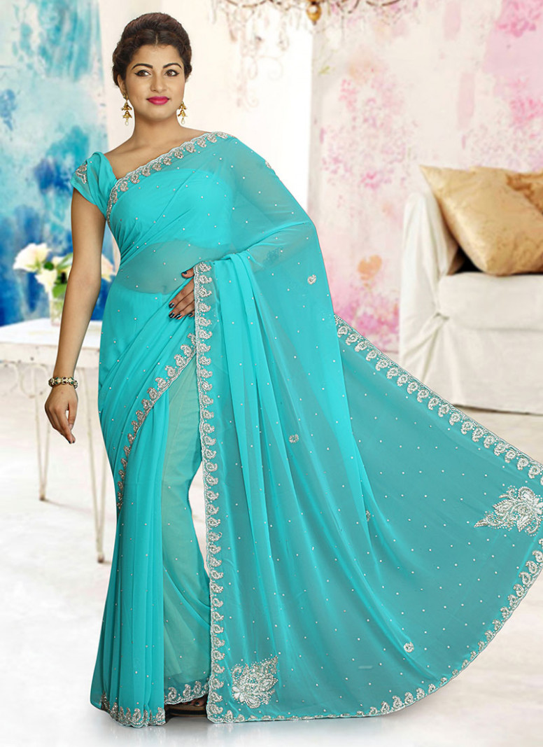Buy Sky Blue Georgette Saree, Embroidered , Stones , Hand