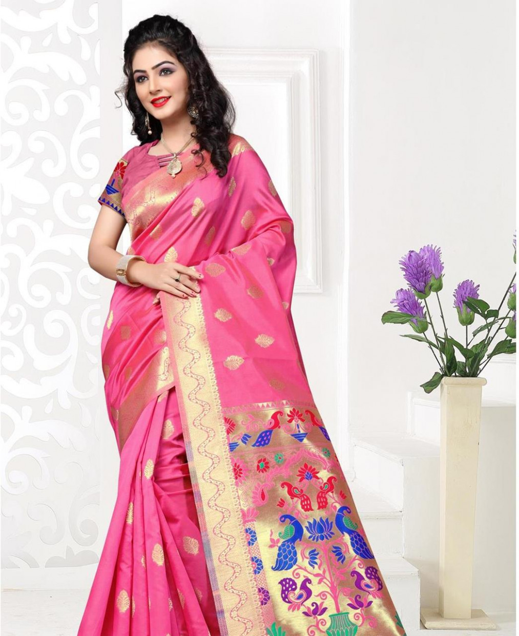 Buy Splendid Pink Silk Saree [106890] at £23.37