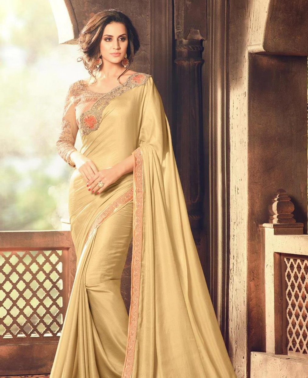 Buy Statuesque Beige Party Wear Saree [110444] at £40.45