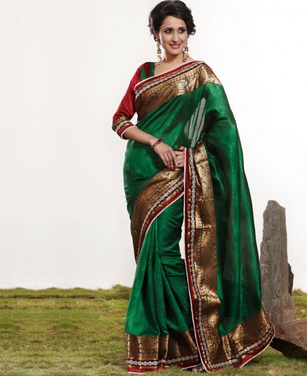 Buy Statuesque Bottle Green Silk Saree [ADF19906] at £41.03