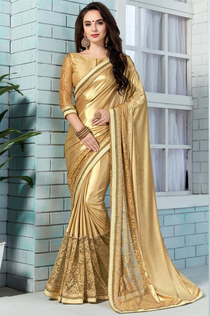 Buy Stylishly Embroidered Golden Color Saree In Shimmer