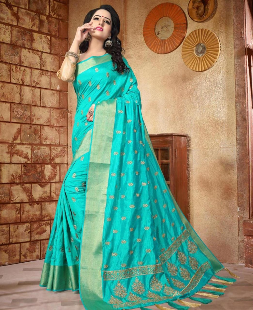 Buy Sublime Turquoise Blue Silk Saree [128257] at ₹ 3,756.75