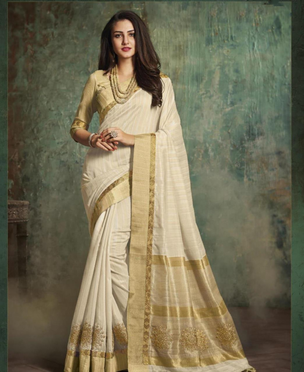 Buy Superb Off-White Silk Saree [126876] at $52.63