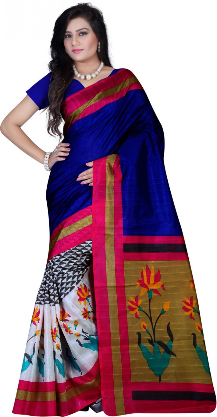 Buy svb sarees Printed Bhagalpuri Pure Silk Multicolor
