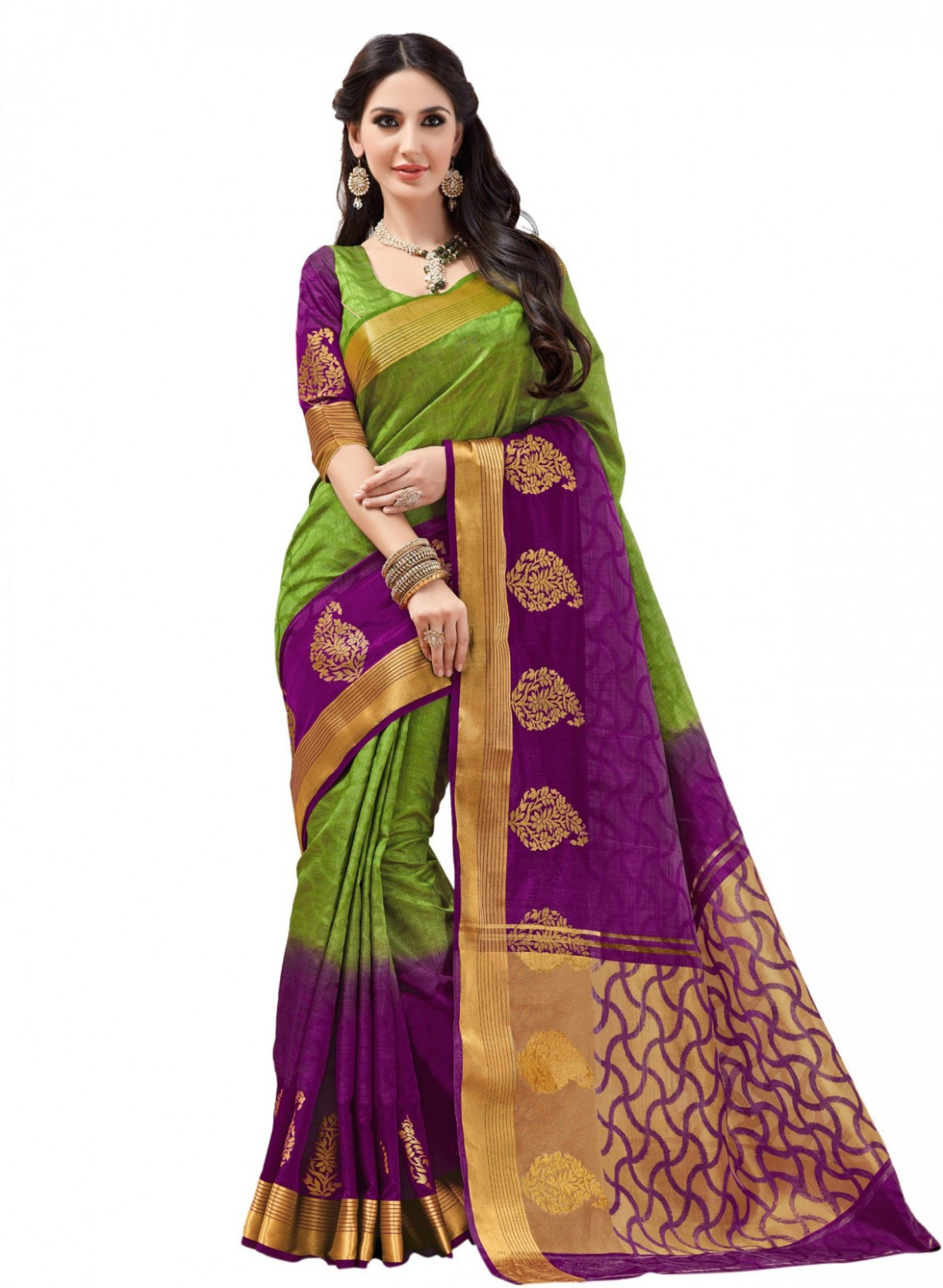 Buy Taanshi Self Design Kanjivaram Tussar Silk Green