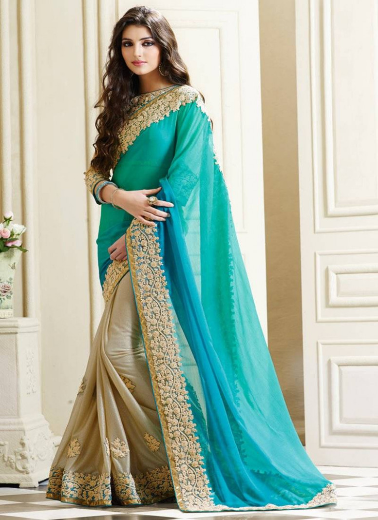 Buy teal embroidered georgette saree With Blouse Online