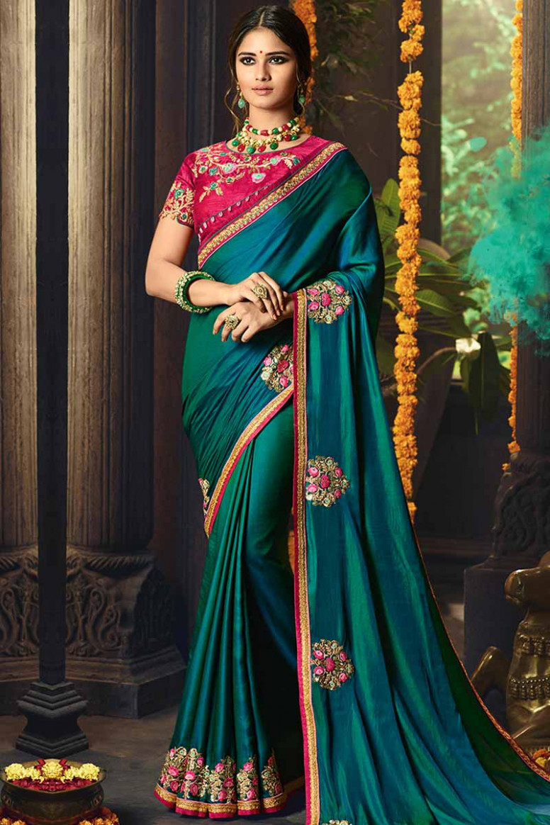 Buy Teal Green Silk Saree With Silk Blouse Online