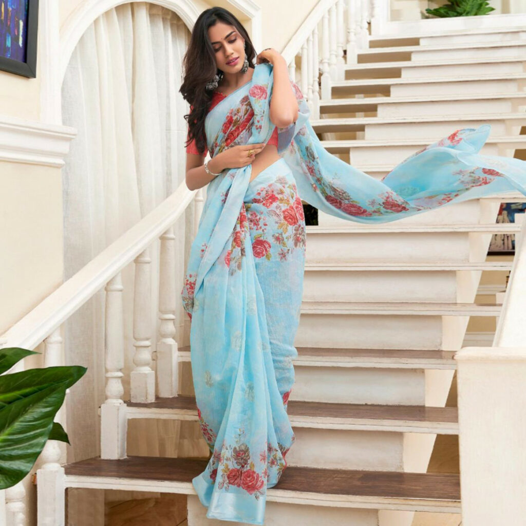 Buy Trendy Light Blue Colored Casual Floral Printed Linen